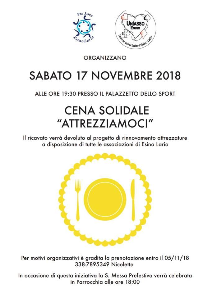 Cena solidale a Esino Lario