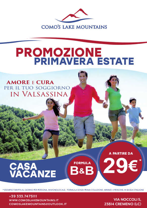 Promozione primaverile con Como's Lake Mountains Casa Vacanze e B&B