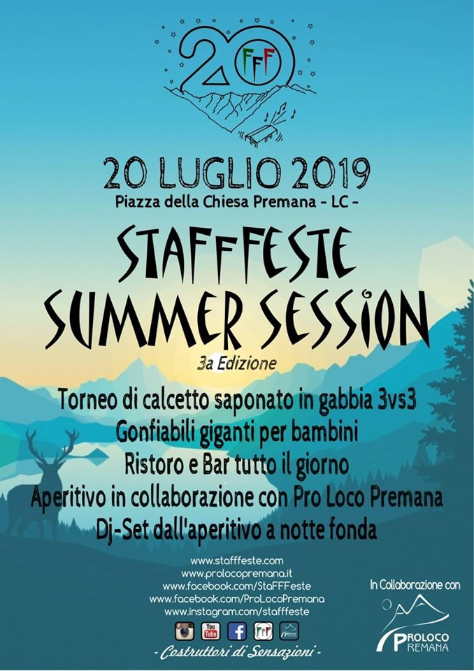 Stafffeste Summer Session a Premana