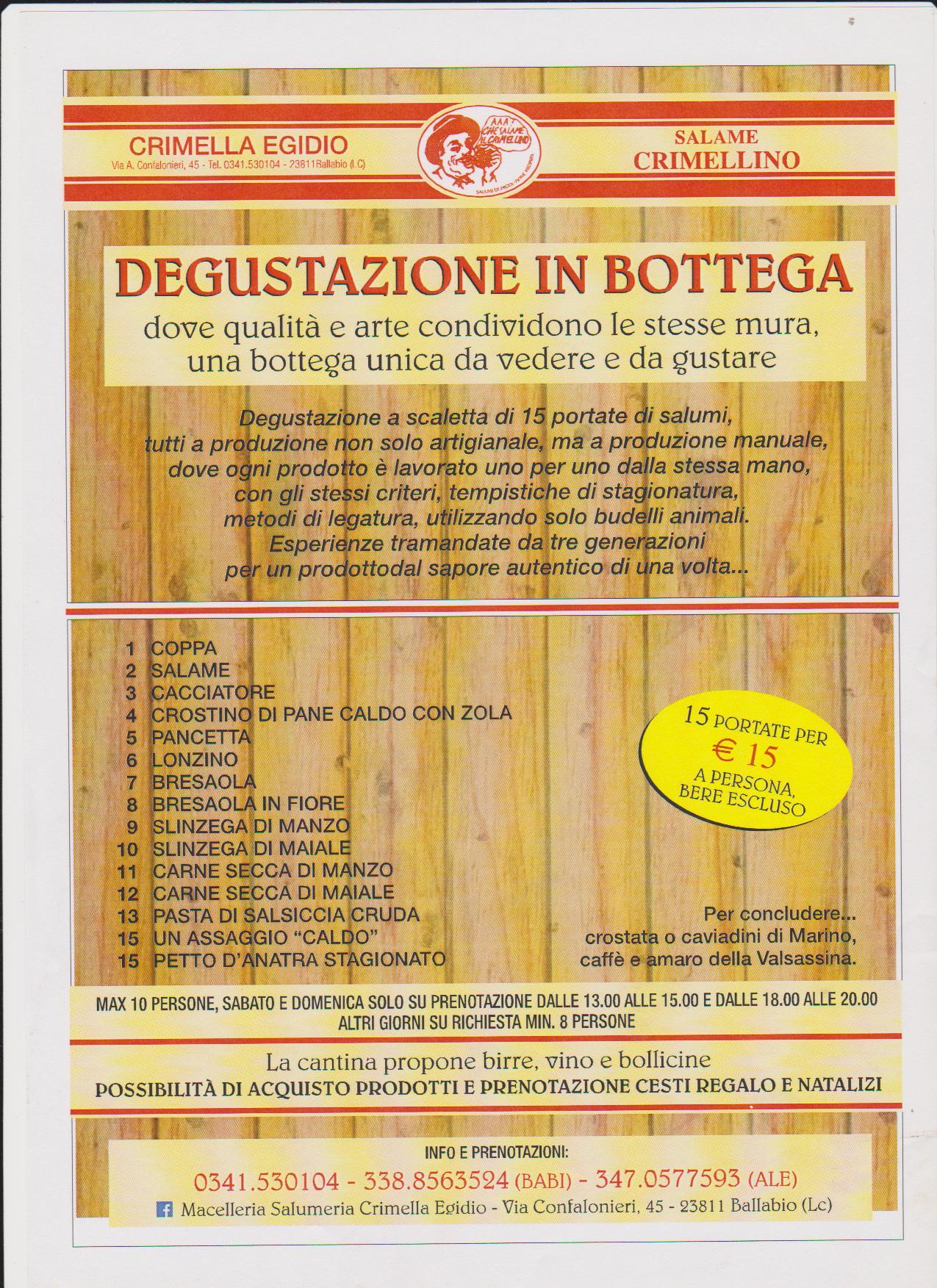 Degustazioni in bottega alla Macelleria Crimella
