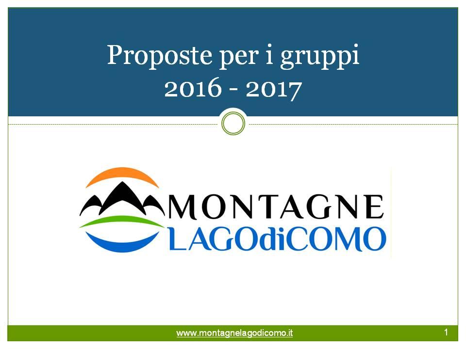 Catalogo gruppi Montagne Lago di Como 2016-2017