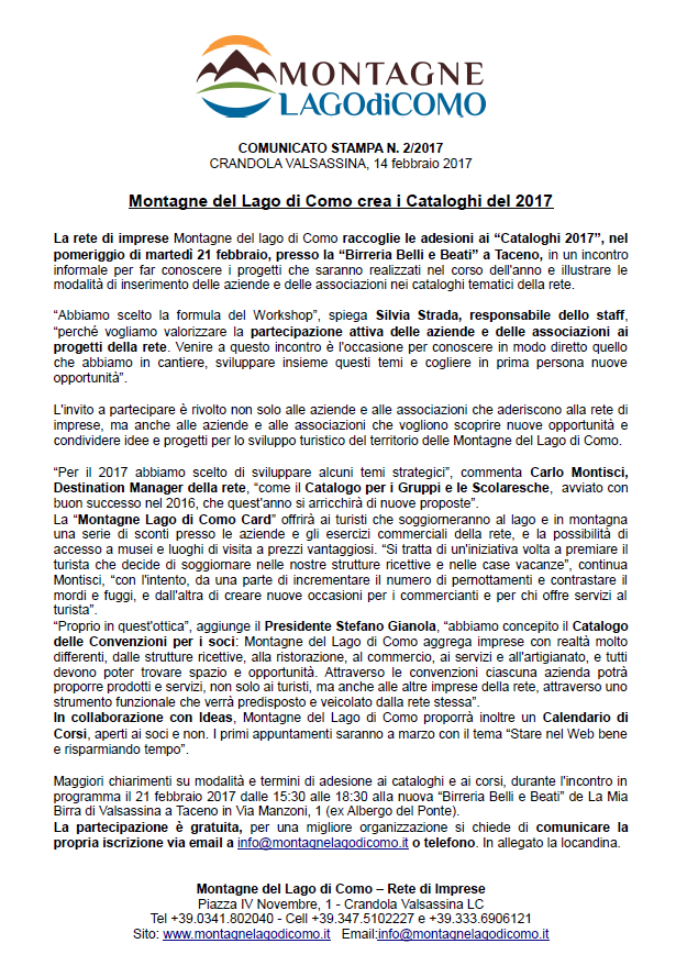 Comunicato stampa workshop cataloghi 2017 lago di como e for Gettare i piani del workshop