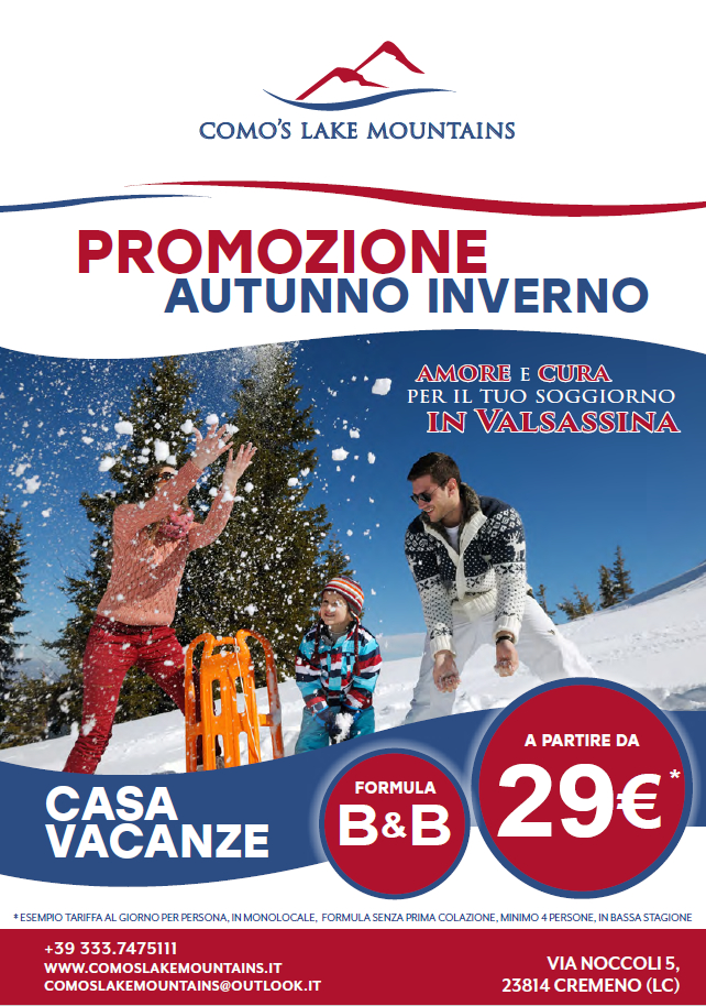 Promo autunno inverno al Como's Lake Mountains Casa Vacanze e B&B