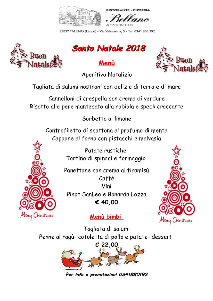 Menù di Natale al Ristorante Bellano