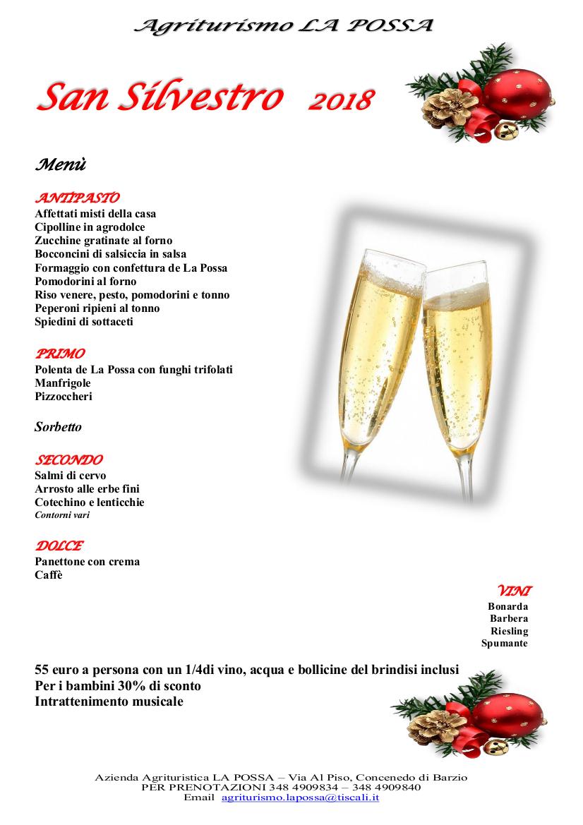 Menù di Capodanno all'Agriturismo La Possa