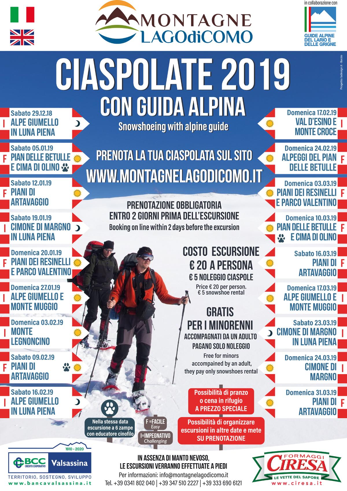 Ciaspolata all' Alpe Giumello in luna piena con guida