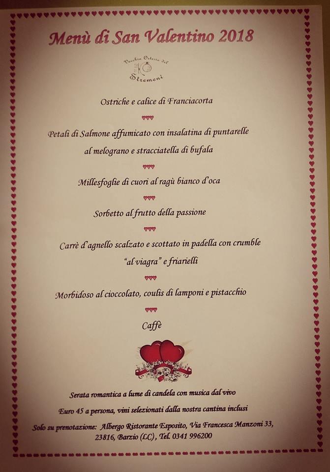 Menù di San Valentino all'Albergo Ristornate Esposito