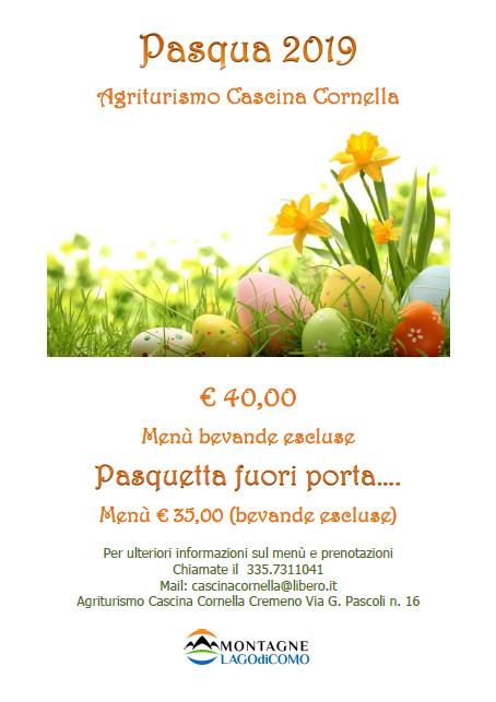 Menù di Pasqua e Pasquetta alla Cascina Cornella