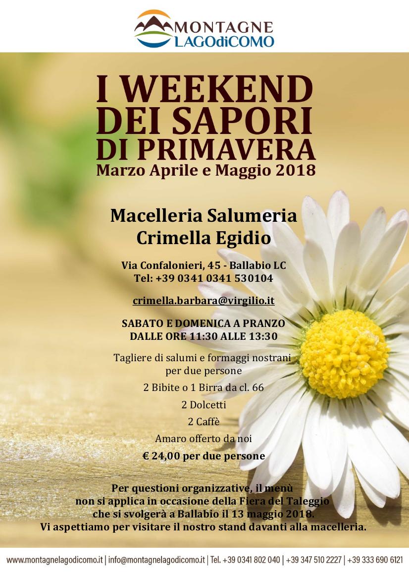 I Weekend dei Sapori di Primavera alla Macelleria Salumeria Crimella