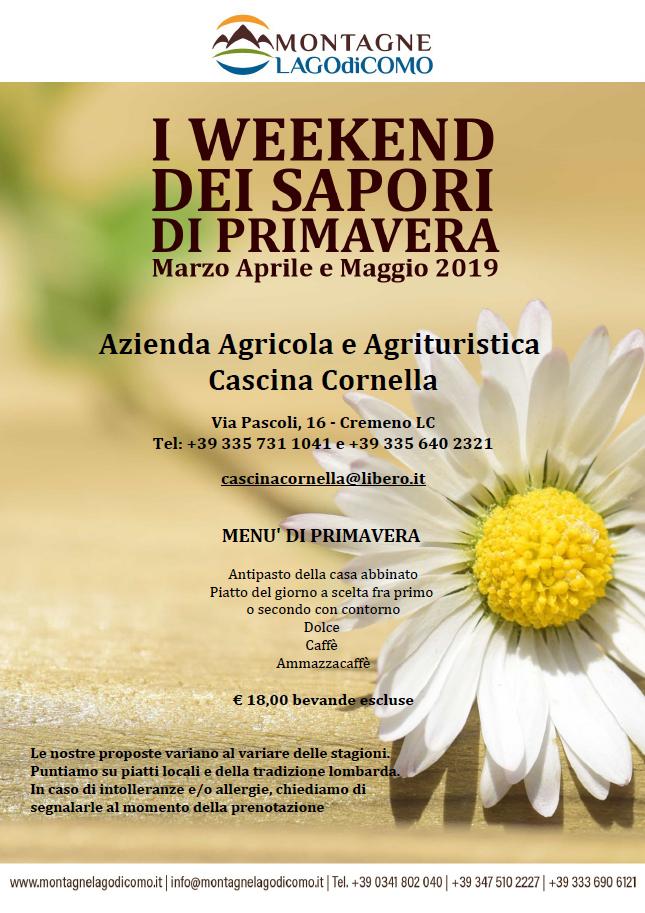 I Weekend dei Sapori di Primavera all'Azienda Agricola e Agrituristica Cascina Cornella