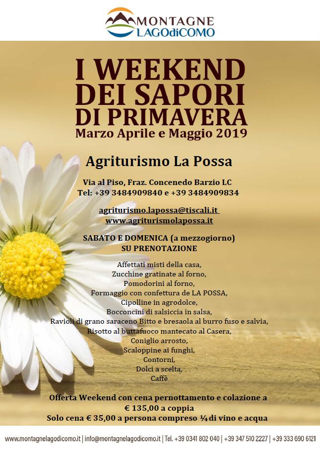 I Weekend dei Sapori di Primavera all'Agriturismo La Possa