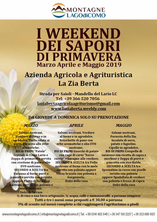 I Weekend dei Sapori di Primavera all'Azienda Agricola e Agrituristica La Zia Berta