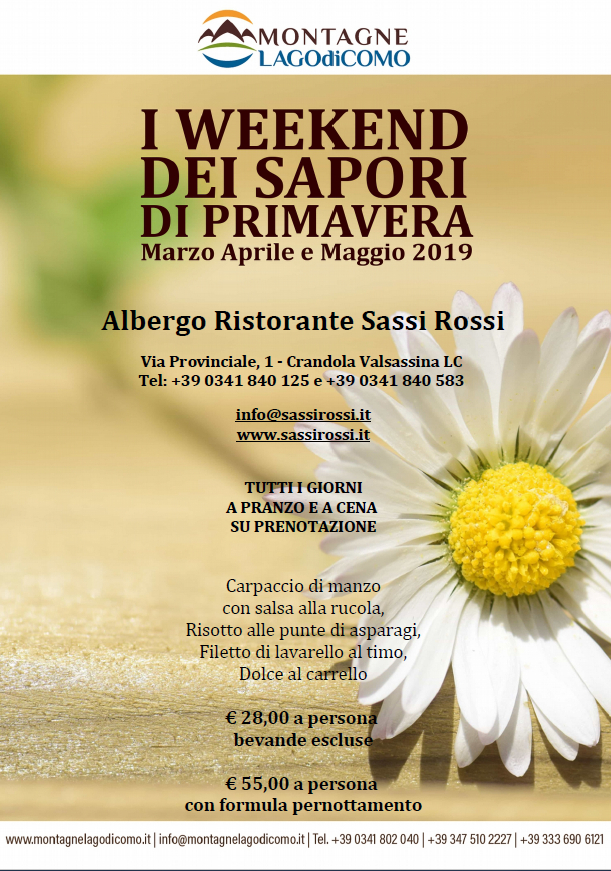 I Weekend dei Sapori di Primavera all'Albergo Ristorante Sassi Rossi