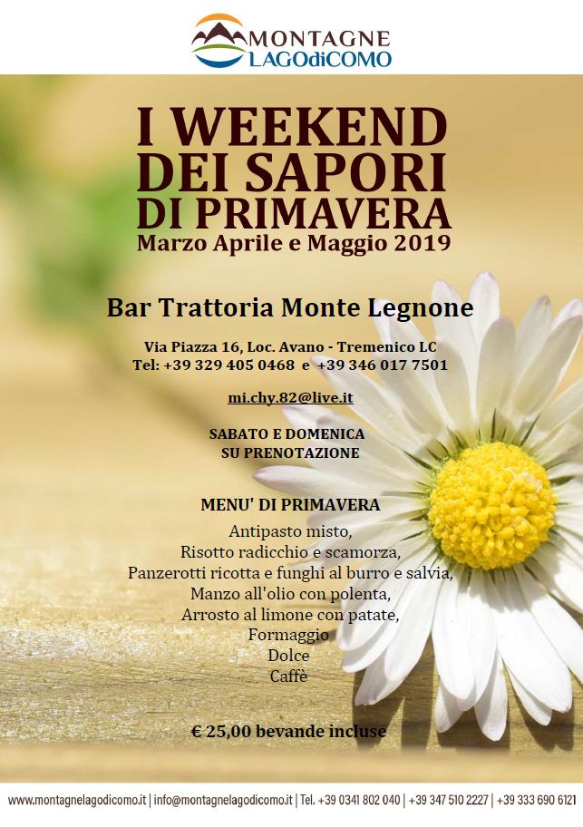 I Weekend dei Sapori di Primavera al Bar Trattoria Monte Legnone