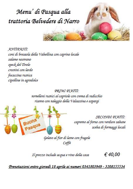 Menù di Pasqua alla Trattoria Pizzeria Belvedere