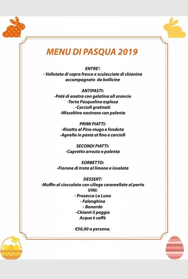 Menù di Pasqua al Ristorante Pizzeria 2184
