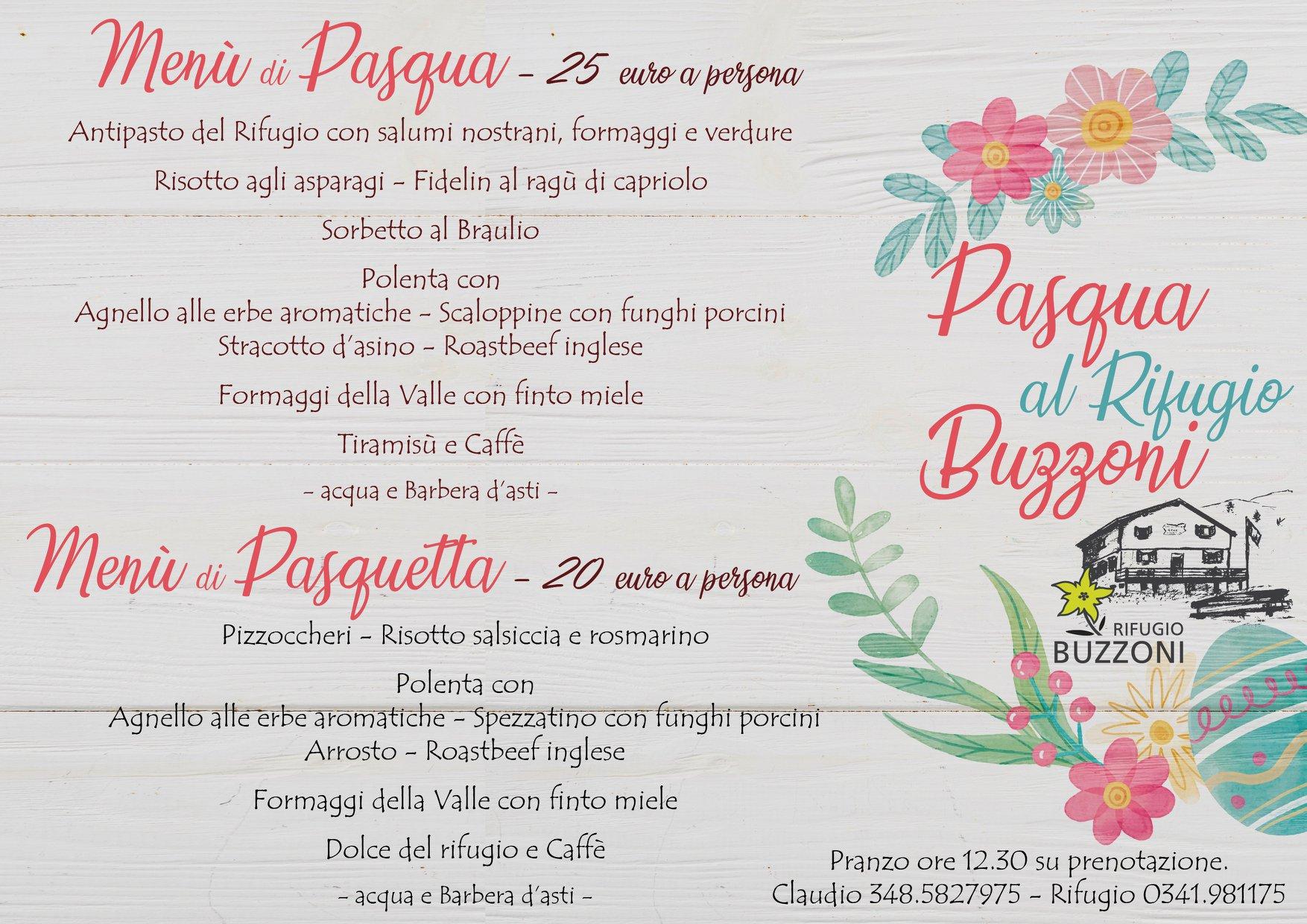 Menù di Pasqua e Pasquetta al Rifugio Buzzoni