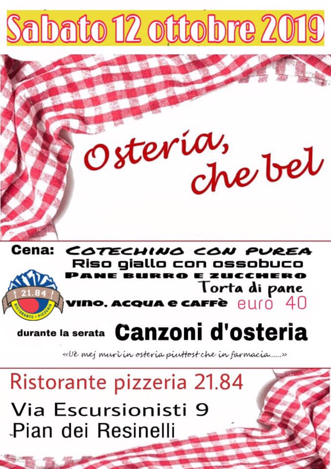 Osteria, che bel al Ristorante Pizzeria 21.84