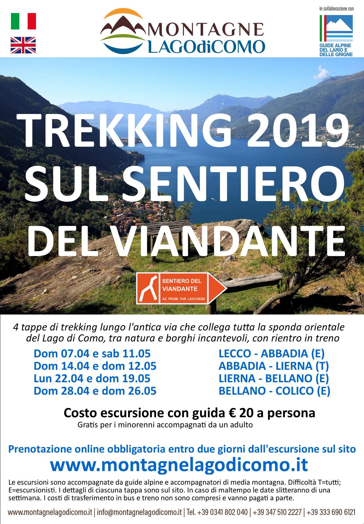 Trekking sul Viandante da Bellano a Colico con guida