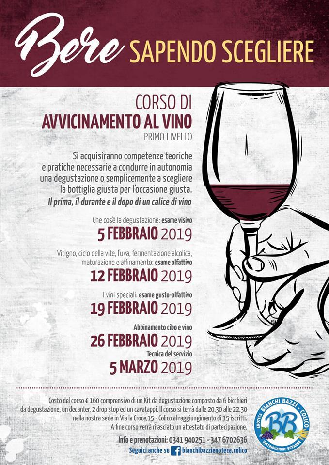 Corso di avvicinamento al vino all'enoteca Bianchi e Bazzi di Colico