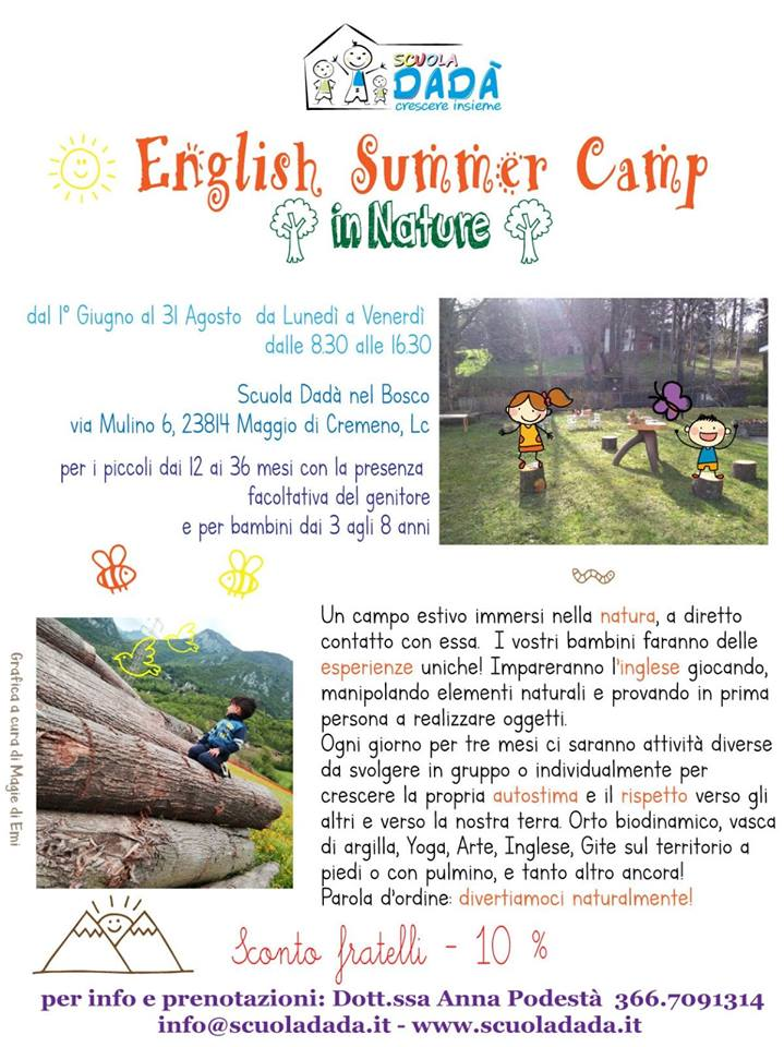 English Summer Camp al Nido Scuola Dadà a Cremeno