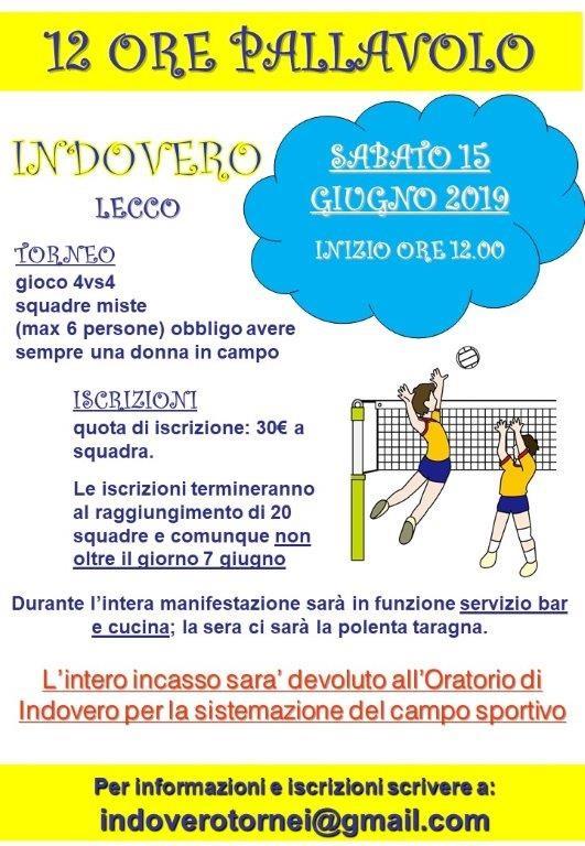 Torneo 12 ore di pallavolo a Indovero