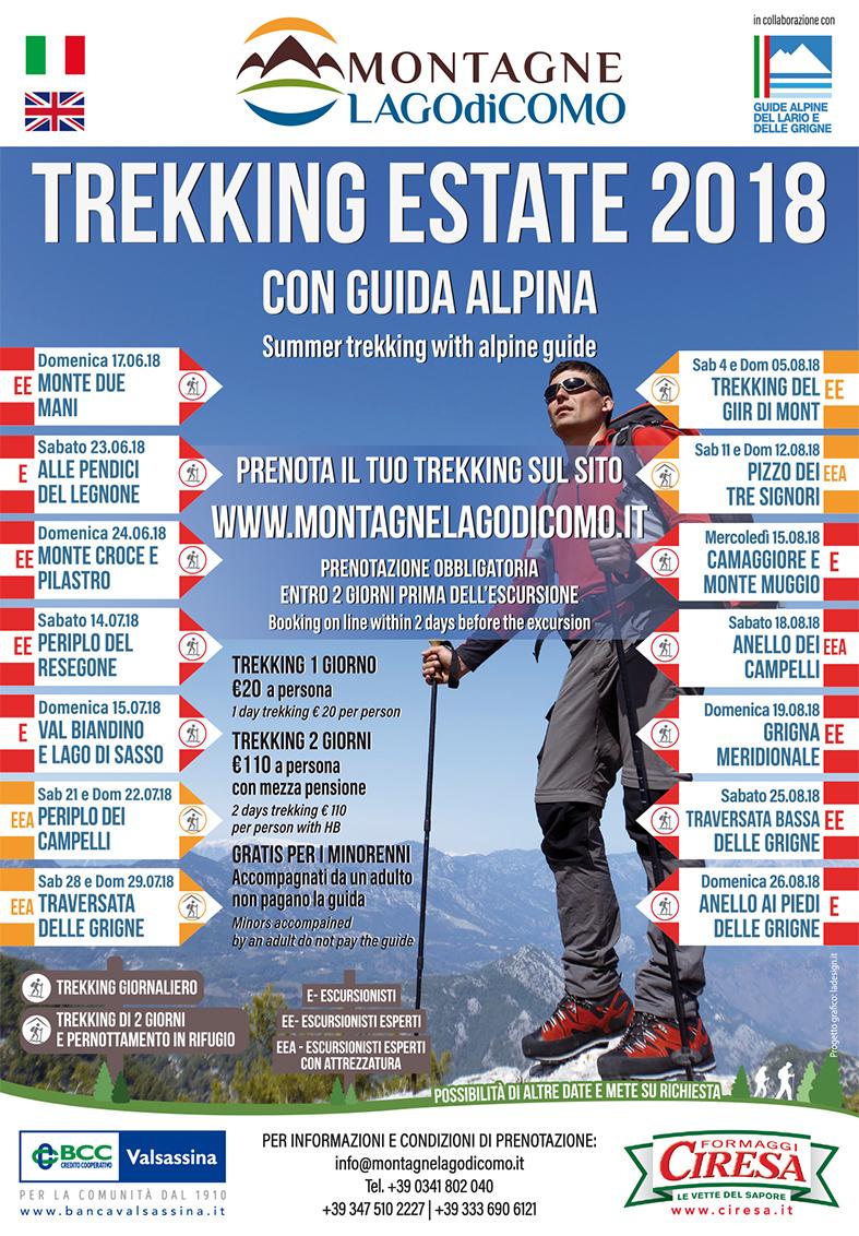 Nuovo calendario di Trekking con guida Estate 2018