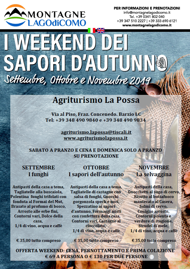 I Weekend dei Sapori d'Autunno all'Agriturismo La Possa