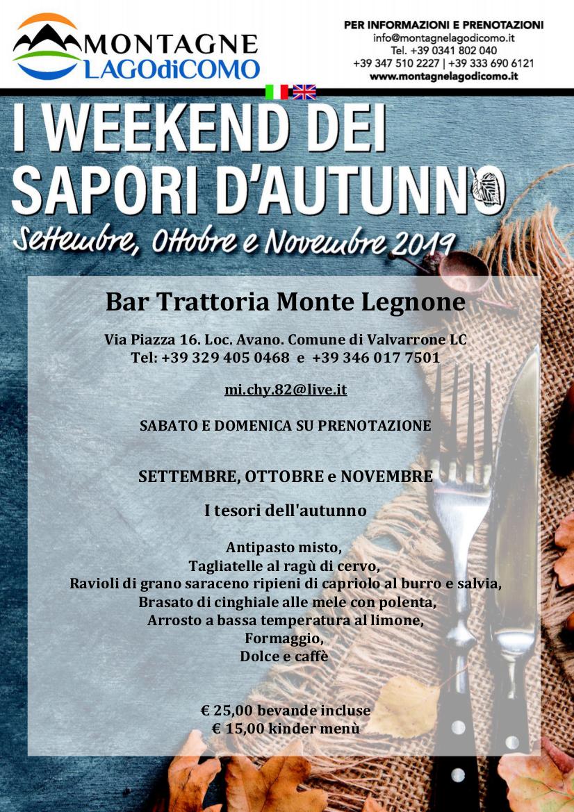 I Weekend dei Sapori d' Autunno al Bar Trattoria Monte Legnone
