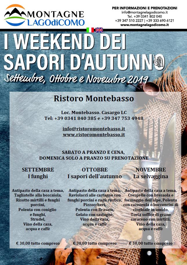 I Weekend dei Sapori d' Autunno al Ristoro Montebasso