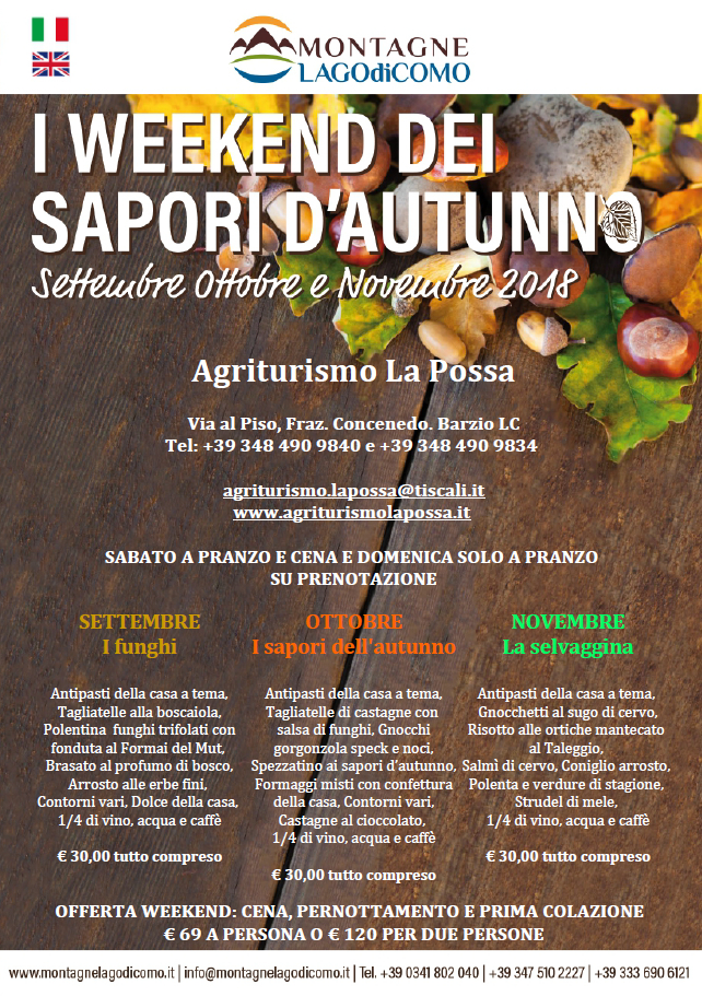 I Weekend dei Sapori d' Autunno all' Agriturismo La Possa