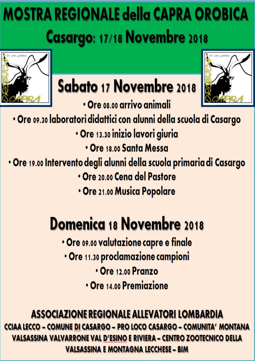 Mostra Regionale della Capra Orobica a Casargo
