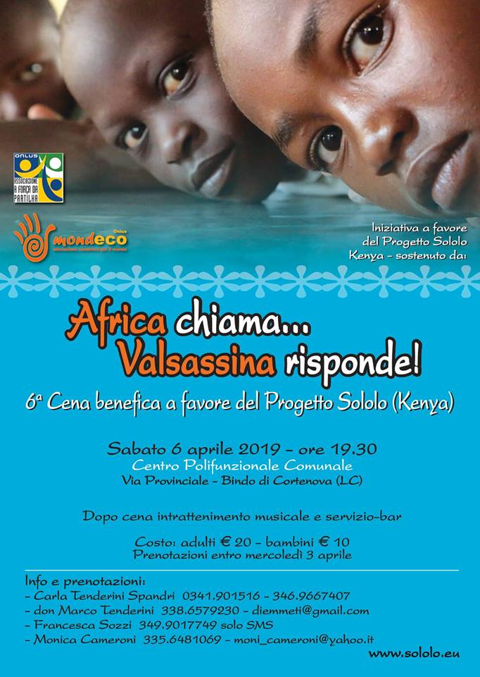 Cena benefica pro progetto Sololo (Kenya) a Cortenova