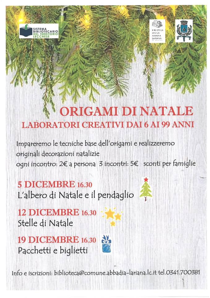 Origami di Natale ad Abbadia Lariana