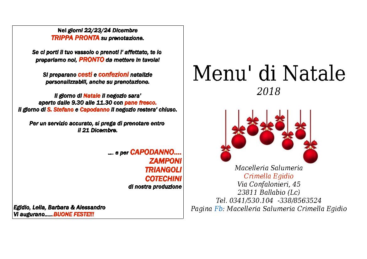 Menù di Natale alla Macelleria Crimella