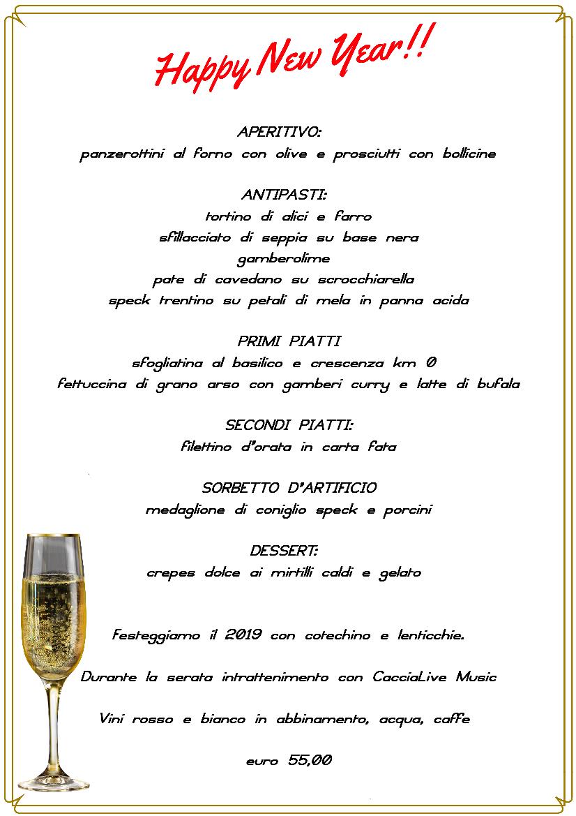 Menù di Capodanno al Ristorante Pizzeria 2184