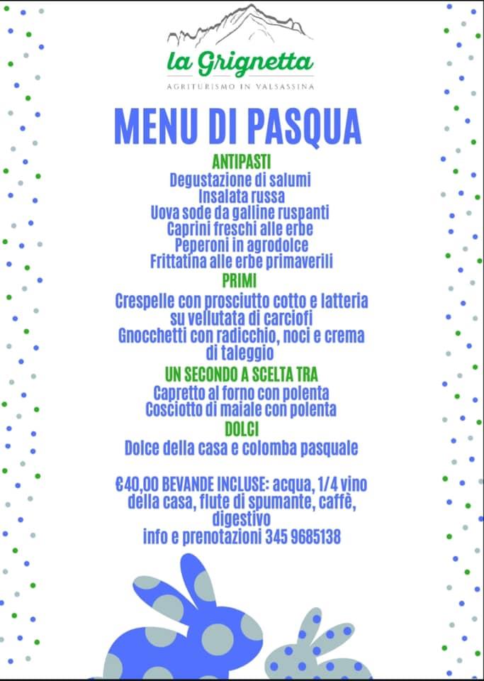 Menù di Pasqua e Pasquetta all'Agriturismo La Grignetta