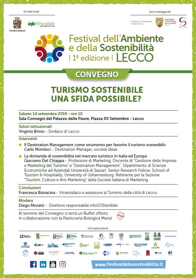 Convegno Turismo Sostenibile sabato 14 settembre a Lecco