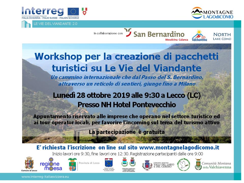 Workshop B2B per Pacchetti Turistici LE VIE DEL VIANDANTE 2.0